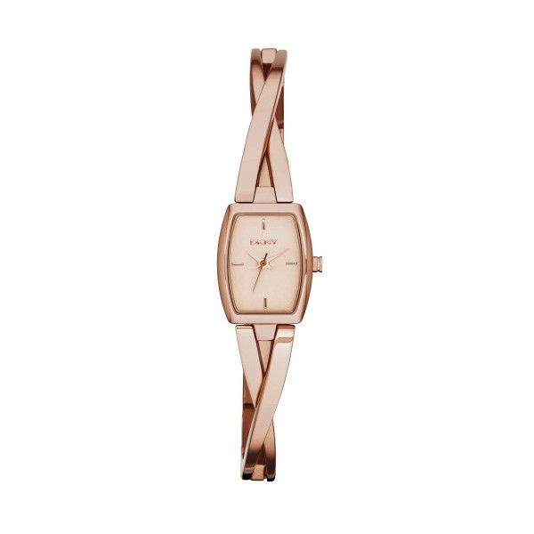 DKNY Cross Walk Bangle Rose Dial Rose Gold-tone Ladies Watch ($75) ❤ liked on Polyvore