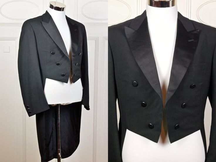 Vintage Tailcoat, Black Evening Jacket Tuxedo w Tails, European Formal Full-Dress Tailcoat, Steampunk Jacket: M, 38 US/UK by YouLookAmazing on Etsy