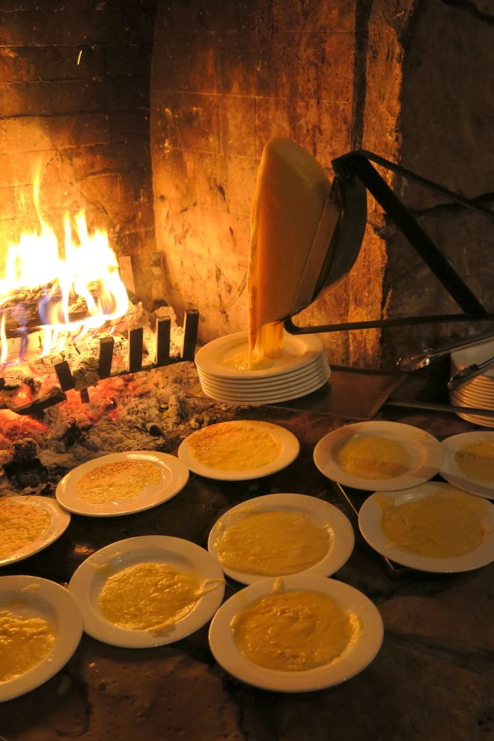 Raclette by the fire.