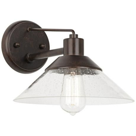 "$70 Lamps Plus - John Timberland 13"" Wide Seedy Glass Outdoor Wall Light - Attic"