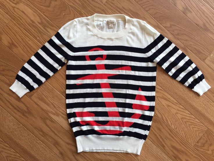 JCrew Navy Striped w Red Anchor Sweater Womens XS #JCREW #Crewneck
