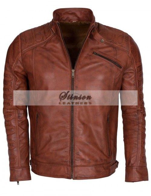 Mens Vintage Brown Biker Leather Jacket