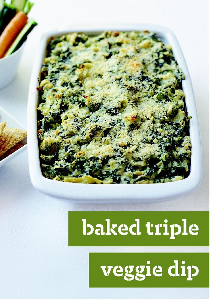 Baked Triple-Veggie Dip -- This dip boasts a trio of veggies--artichoke, spinach and asparagus spears--combined with cream cheese and mayonnaise and baked until lightly browned.