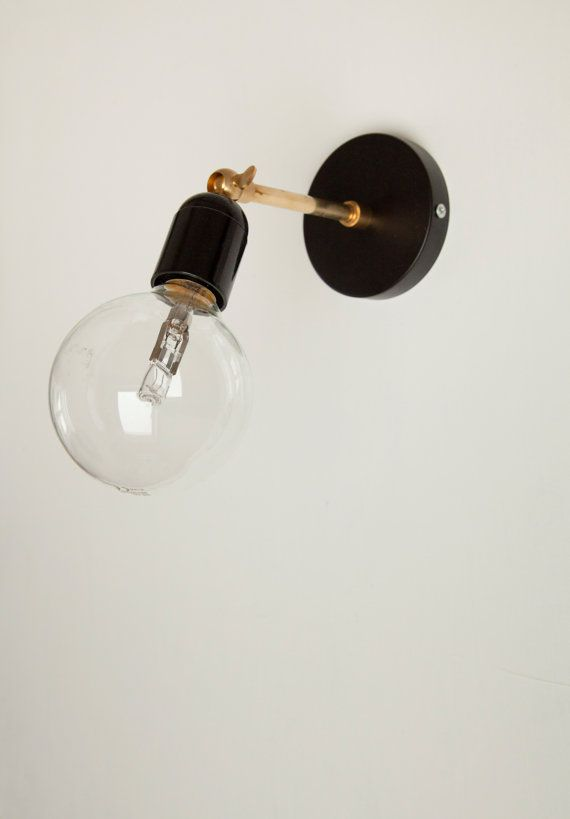 Wall sconce with black Bakelite lampholder and by SparkandBell