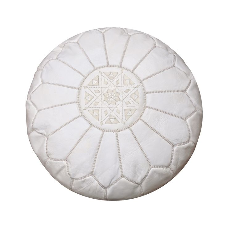 Moroccan Pouffe Ottoman & Footstool Pouf Genuine White Leather