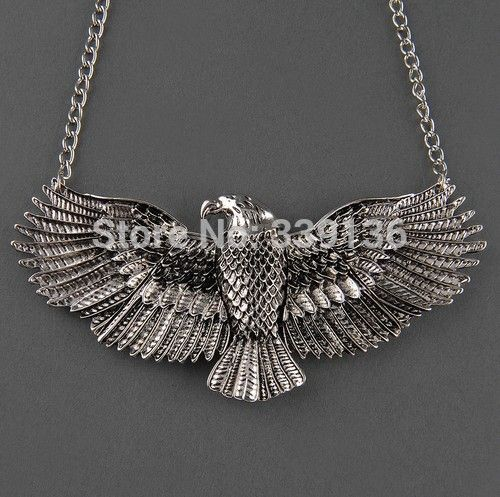 gratis verzending antiek zilveren chique punk vliegende havik adelaar hanger ketting kettingen mode vogel dier sieraden(China (Mainland))