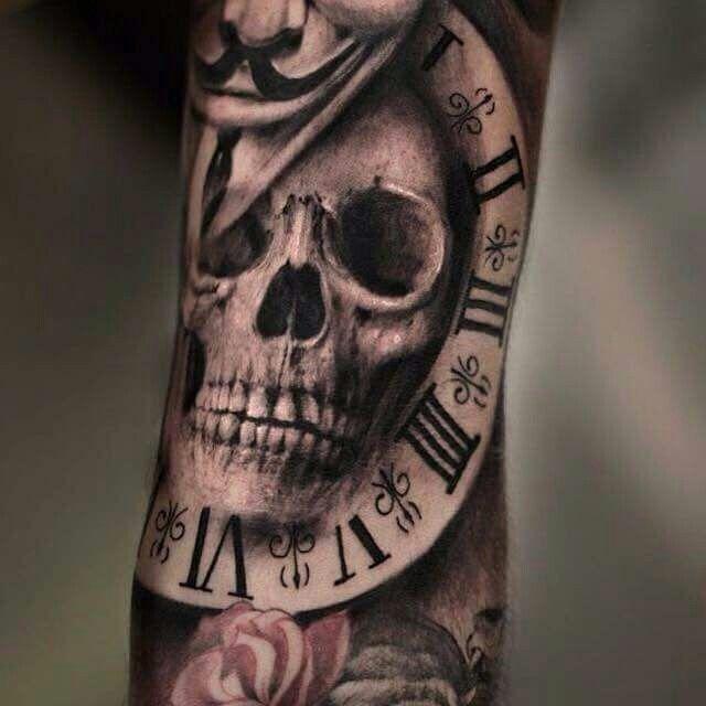 skull in time tattoo pinterest tattoo tattos and tatting. Black Bedroom Furniture Sets. Home Design Ideas