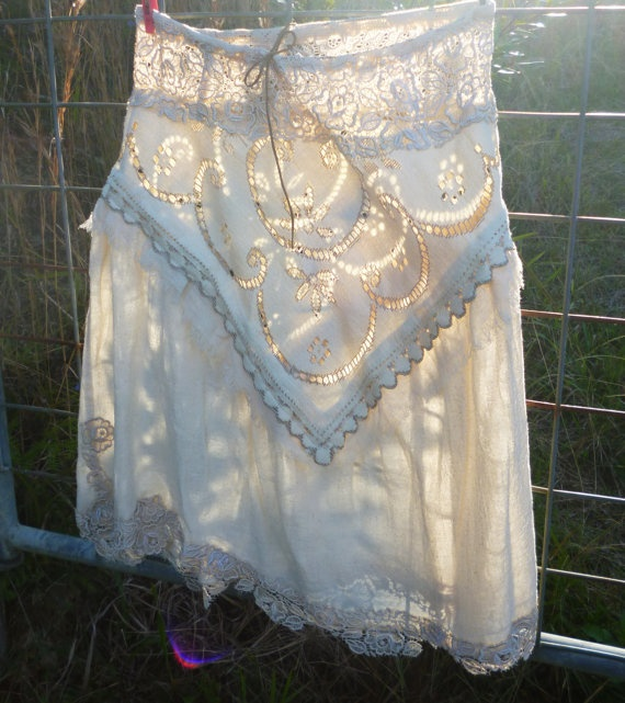 along the trail skirt creamy vintage lace sm med  by cypressavenue, $58.00