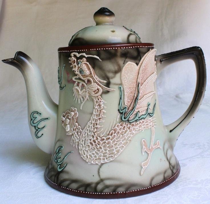Imperial Nippon Porcelain Hand Painted Dragonware Moriage Tea Pot Sugar Jug Lids   eBay