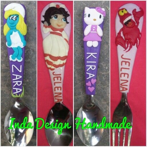 Funny children's cutlery - polymer clay