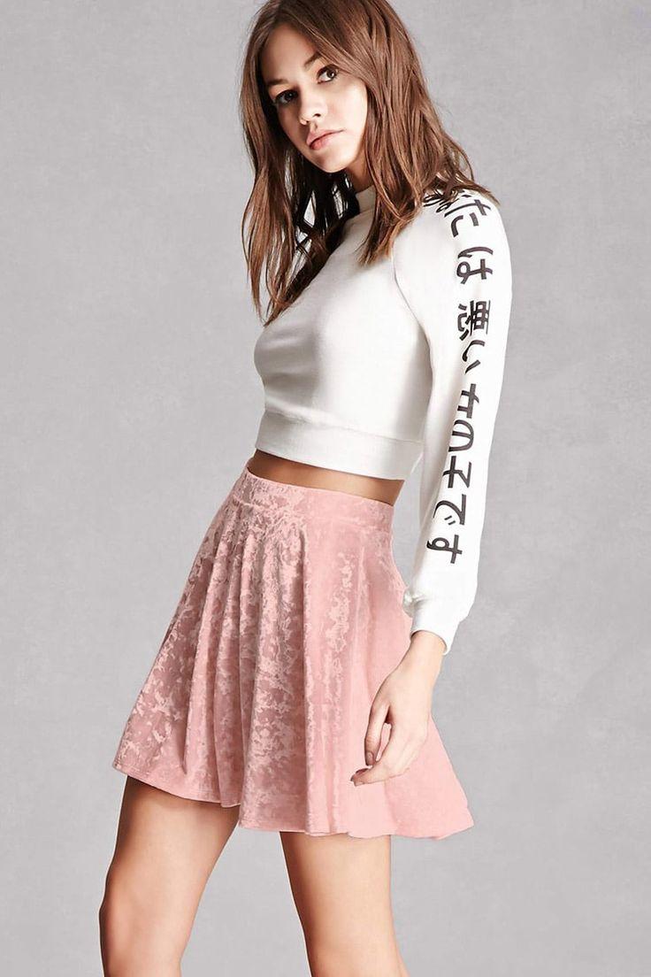 Crushed Velvet Skater Skirt