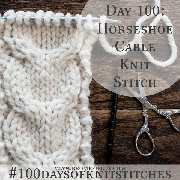 Day 100 : Horseshoe Cable Knit Stitch : #100daysofknitstitches