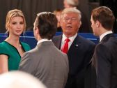 Donald Trump talks to his daughter Ivanka and son Donald, Ivanka's husband Jared Kushner and wife Melania after the second presidential debate, St. Louis, U.S. October 9, 2016. - Photo:Rick T. Wilking, AP . ""