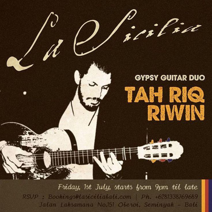 Django Reinhardt would be proud! La Sicilia hosts Tah Riq Riwin duo, tonight at 9. Be there!
