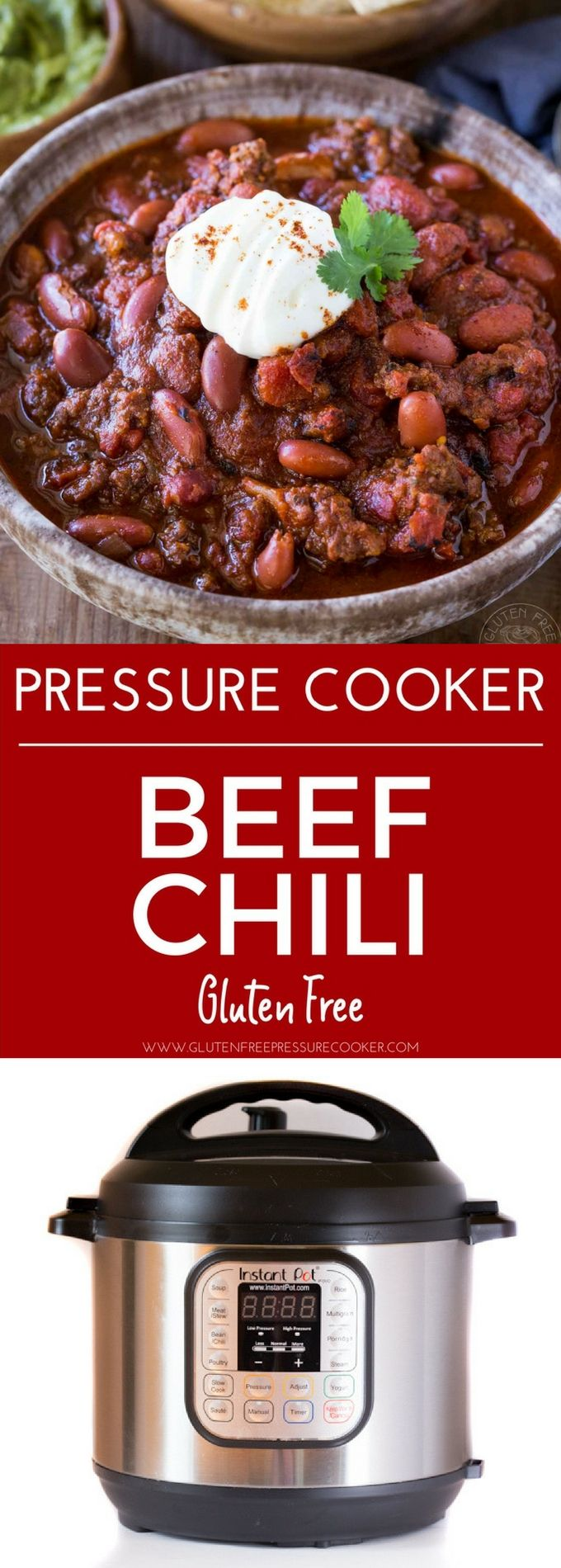 BEST Instant Pot Chili!! My recipe has been tested & tweaked to create a delicious pressure cooker ground beef chili recipe you'll LOVE! It's gluten free. Pressure cooker recipe for ground beef chili, Texas style Chili con carne #instantpotchili #instantpot #instapot #pressurecooker #glutenfreepressurecooker