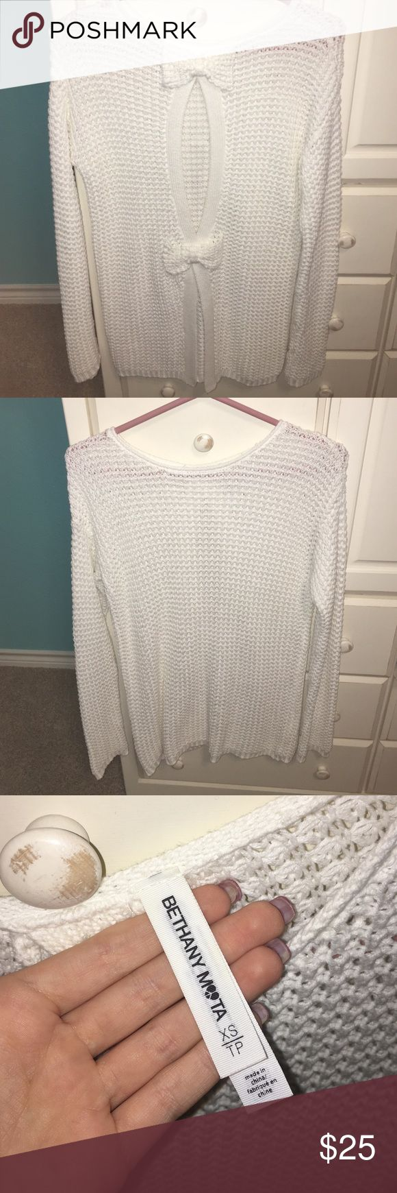 Aeropostale x Bethany Mota Sweater Adorable white sweater with bow detailed back. (Cover photo is the back). From the limited edition Bethany Mota Collection. Aeropostale Sweaters Crew & Scoop Necks
