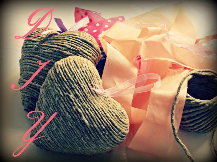 DIY: shabby chic cuoricini in corda / DIY: shabby chic rope's hearts   S...
