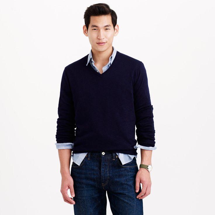 Rugged cotton V-neck sweater : cotton   J.Crew