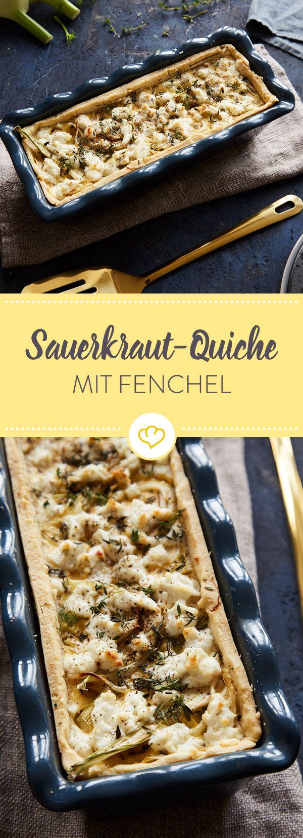 Was duftet denn da so lecker? Eine prächtige Quiche mit saftigem Sauerkraut, frischem Fenchel und aromatischem Ziegenkäse.