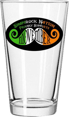 Irish Movember Pint Glass - Shamrock Nation Make a difference! Be sure to visit and LIKE our Facebook page at https://www.facebook.com/drmurraymovember