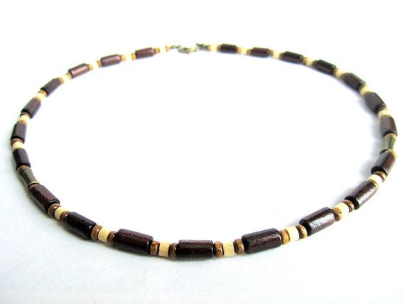 Wood beaded necklace mens wooden choker brown by Bravemenjewelry