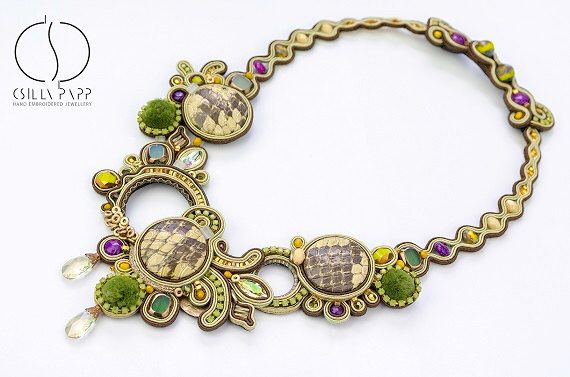FINISHED JEWELRY Abaco necklace one of a kind designer soutache necklace handmade statement jewellery green brown purple neckpiece by CsillaPapp on Etsy https://www.etsy.com/listing/472847509/finished-jewelry-abaco-necklace-one-of-a