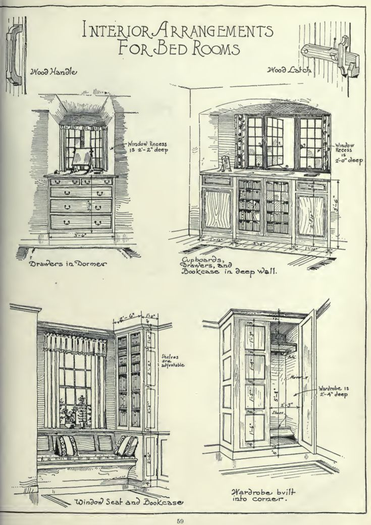 """Interior Arrangements for Bedrooms"" from the book ""What Makes the House Beautiful: A Collection of Building Details and Measured Drawings,"" published in 1920 by Henrietta C. Peabody."