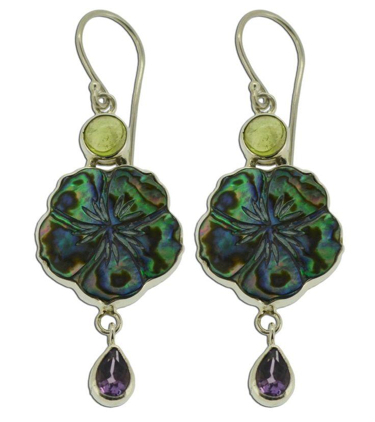 Jewelry With Soul Peridot Amethyst Abalone Paua 925 Sterling Silver Earrings