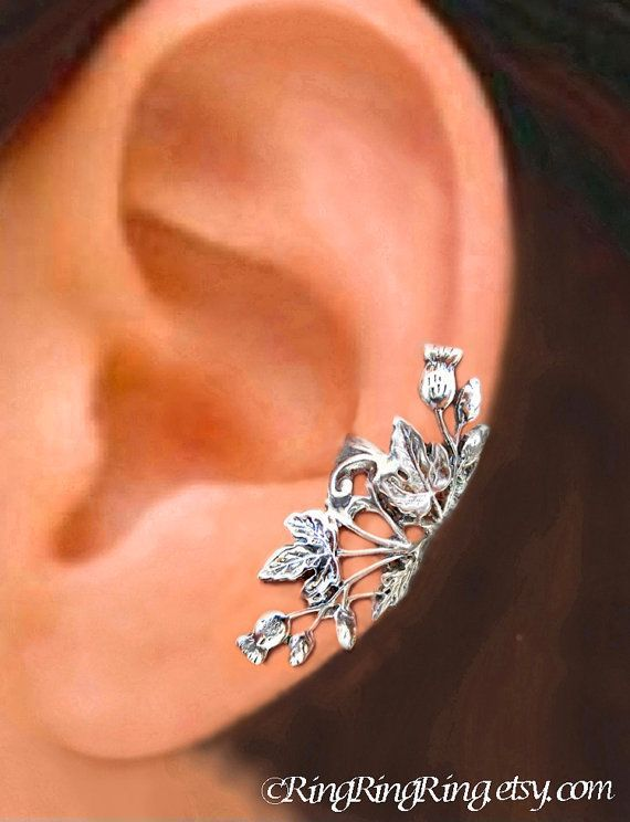 Thistle ear cuffs non pierced earring Sterling silver ear cuff men thistle jewelry clip earring long ear cuff silver Right Left Pair C-108