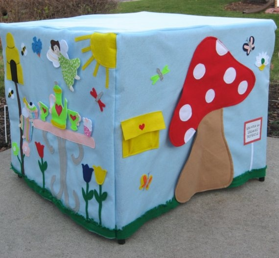 Crawl through the Toadstool door; flower windows Move the fairies, flowers, strawberries, teapot and teacups to different places