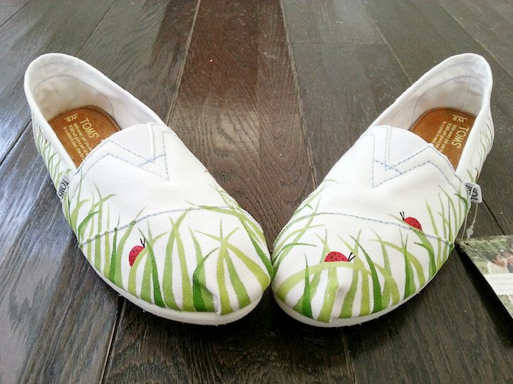 Green grass and lady bugs painted TOMS shoes by LaQuist - order by request at www.etsy.com/shop/laquist #laquist - visit www.laquist.com/gallery to see more custom painted TOMS, Converse, Vans, Keds, and wedges shoes by artist Lauren Rundquist.