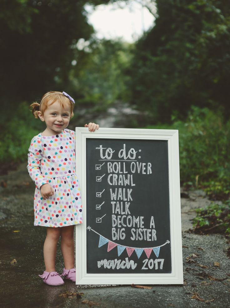 Chalkboard Baby Announcement with Toddler | Sibling Birth Announcement | Sibling Pregnancy Announcement