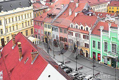 Detailed shot of Colorful buildings in old town Sibiu, Romania, Jan.2018