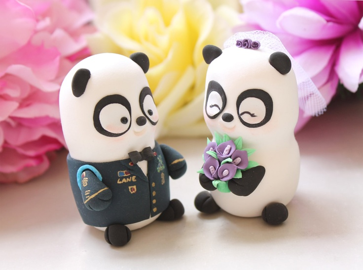 army+wedding+topper | Wedding cake toppers Military Panda US Army dress by PassionArte