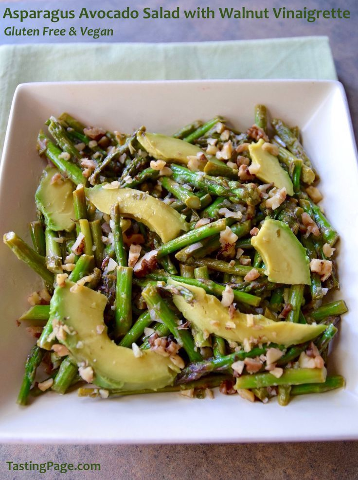 Asparagus Avocado Salad with Walnut Vinaigrette - gluten free and vegan | TastingPage.com