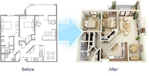 3D isometric floor plan Photorealistic Interior Renderings - new interior blueprint maker