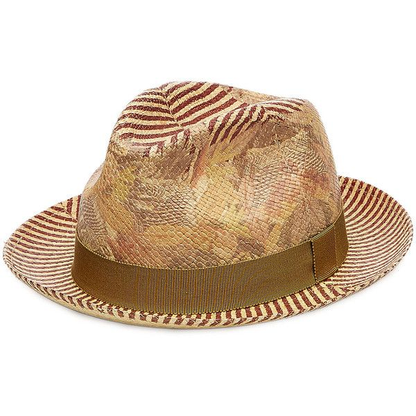 Etro Printed Straw Hat 1290 RON Liked On Polyvore