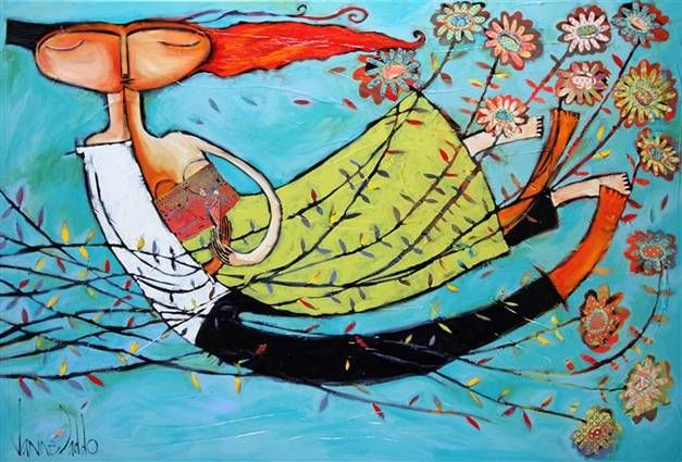 'Ginger in your kiss' by Janine Daddo  Mixed media on canvas 100x150cm  Avail through the Manyung Gallery Group
