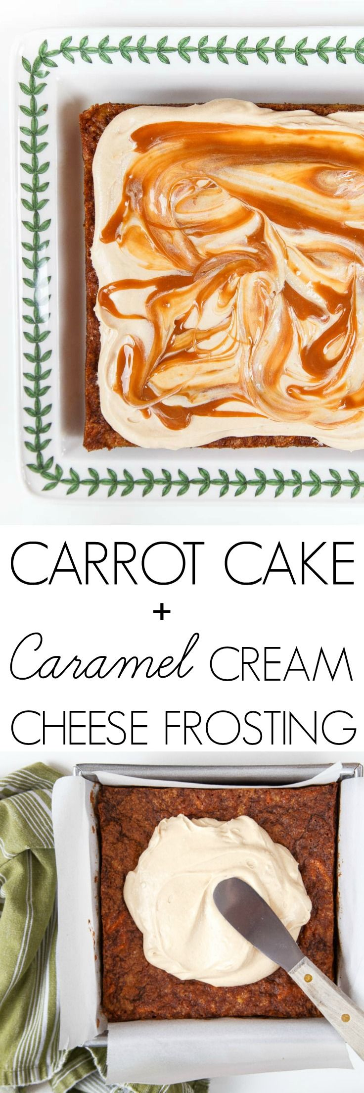 One layer carrot cake with caramel cream cheese frosting for Easter dinner! @DessertForTwo