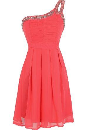 One Shoulder Dress in Coral