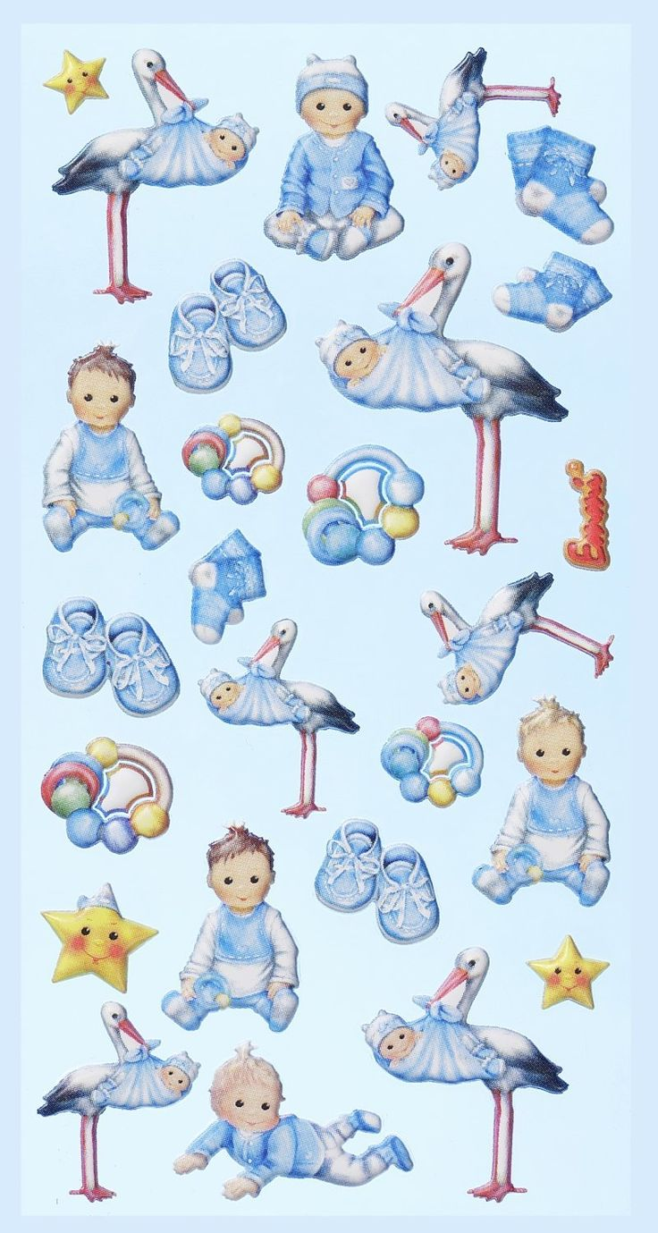 Super søde softy stickers med baby dreng motiver fra Sjovogkreativ.dk som kan bruges til kort, invitationer scrapbooking og meget mere.