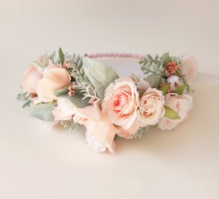 Flower crown - PINK or WHITE - Artificial floral head wreath, Bridal hair crown, Wedding crown, Maternity photoshoot floral wreath by whichgoose on Etsy