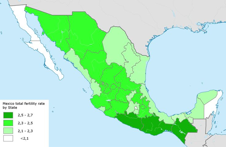 Mexico total fertility rate by state 2014