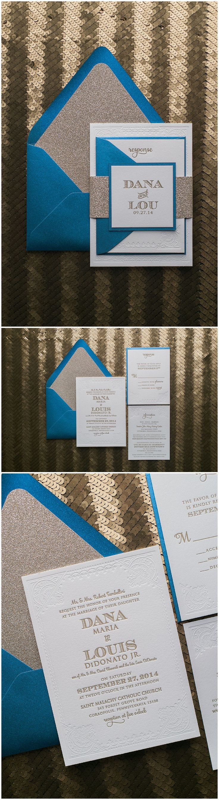 Gold and Sapphire Wedding Invitations Letterpress Wedding