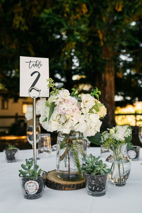 How adorable are the succulents in this wedding centerpiece? Rancho Nicasio Wedding Marin County.