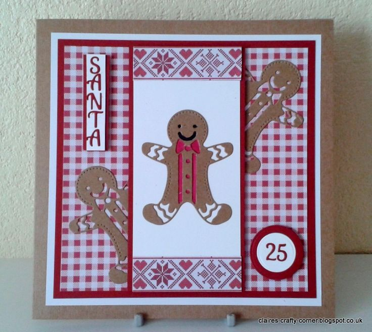 Made by Claire Basinger - Christmas card made using the Rococo gingerbread man die cut from kraft card, with red gingham backing paper and 2 more gingerbread men in the background.