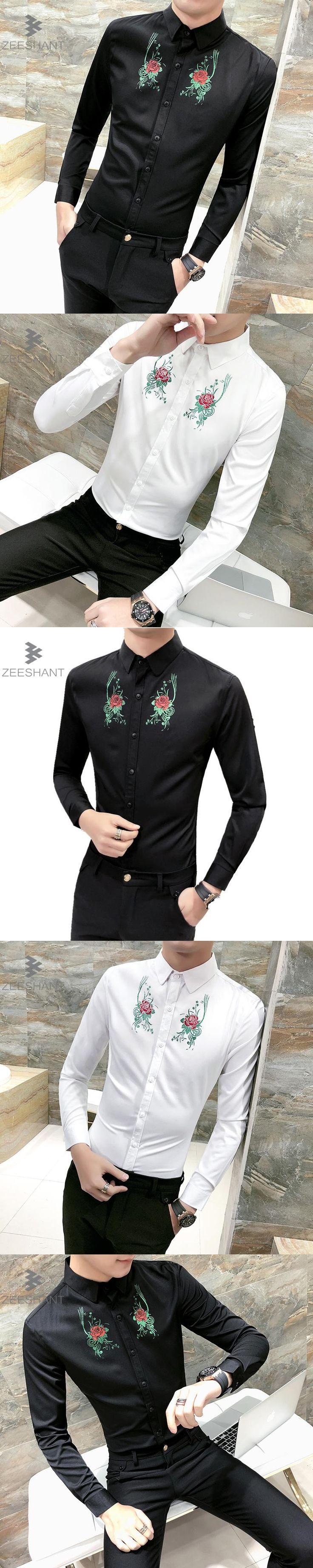 Zeeshant 2018 Spring Flower Printed Men Dress Shirt  Male New Long Sleeve Slim Fit Shirt in Men's Tuxedo Shirts XXXL