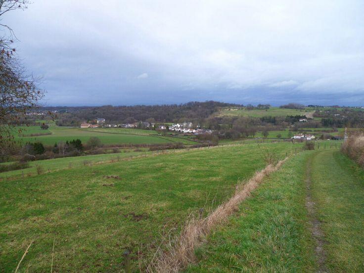 2014-01-03 Zicht op Oud-Valkenburg vanaf het wandelpad door het mooie Gerendal