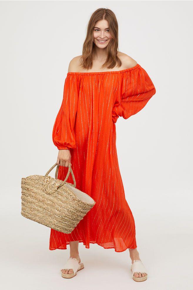 6c3e80cb1bd9 Off-the-shoulder Dress | Beach vacation Time | Dresses, Orange dress ...