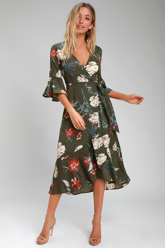 10f5391f9ed The Lulus Love and Light Olive Green Floral Print Midi Wrap Dress is all  you need for romance to bloom! A rust red